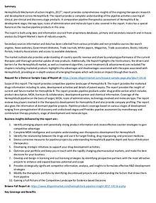 Hemophilia B – Pipeline Research and Analysis 2017