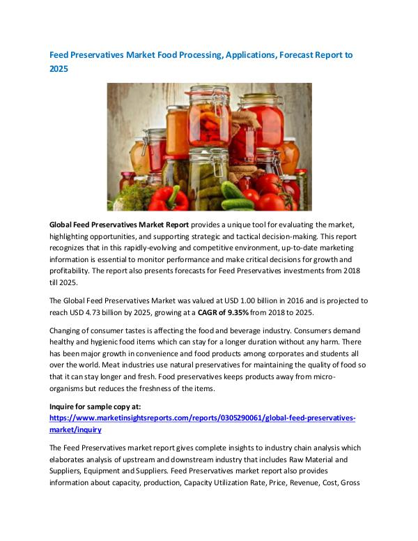 Market Research Feed Preservatives Market Food Processing, Applica
