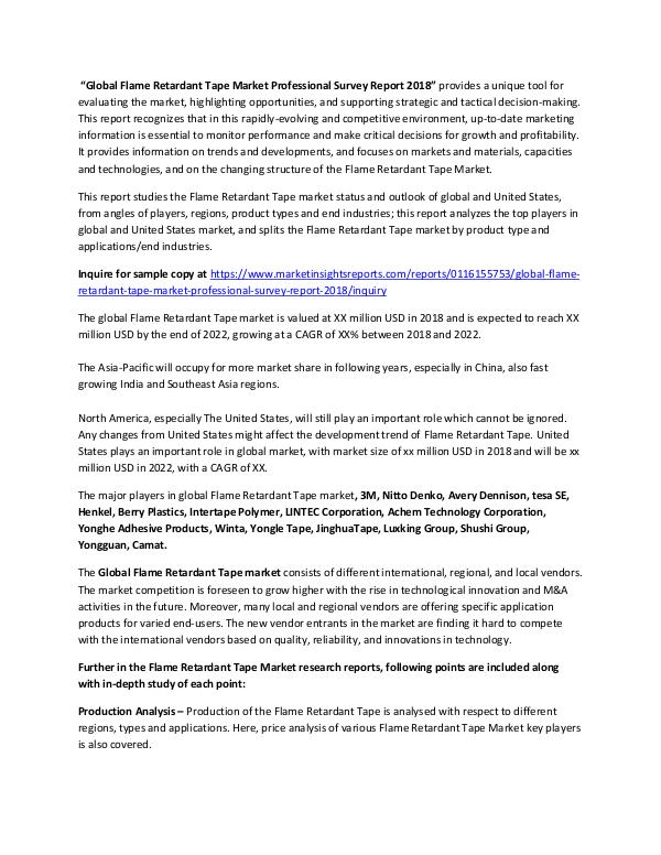 Market Research Flame Retardant Tape Market New Designs, Manufactu