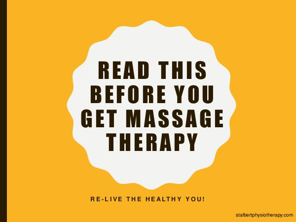 St Albert Physiotherapy Read This Before You Get Massage Therapy