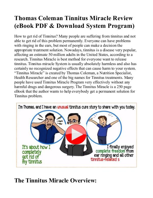 Tinnitus Miracle PDF / eBook System Free Download Thomas Coleman