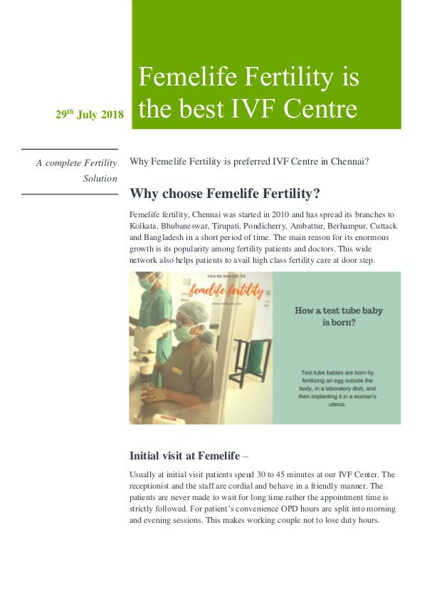 Which Is The Best IVF Centre In Chennai Why Femelife Fertility