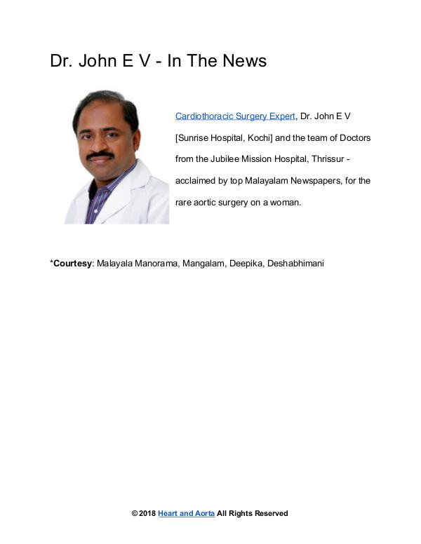 Heart and Aorta Cardiac Surgeon Dr John E V - In The News