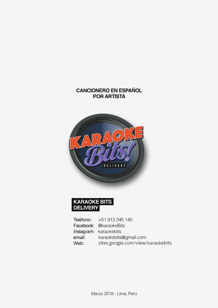 Cancionero Karaoke Bits - marzo 2018 Español por artista - marzo 2018