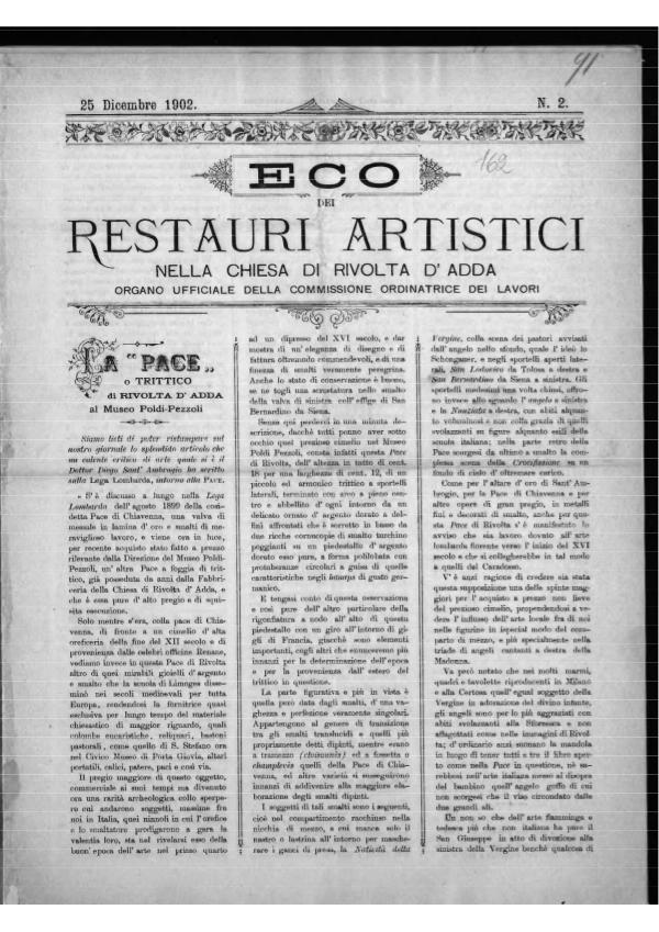 L'eco dei restauri  28 dicembre 1902