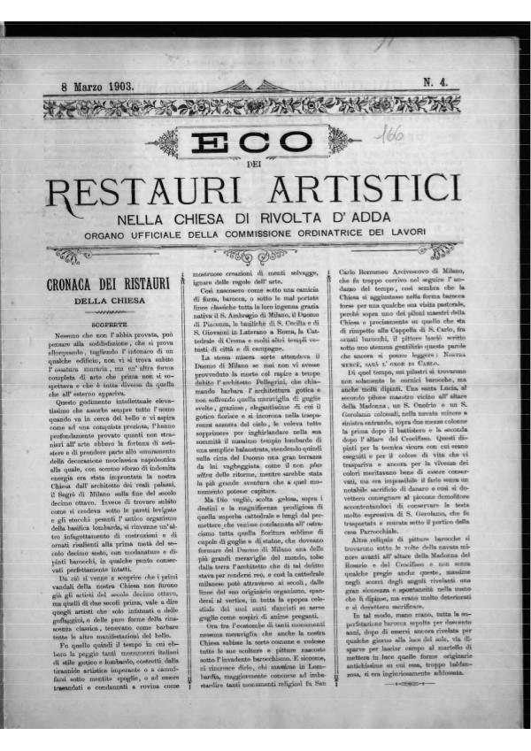 L'Eco dei restauri  Marzo 1903