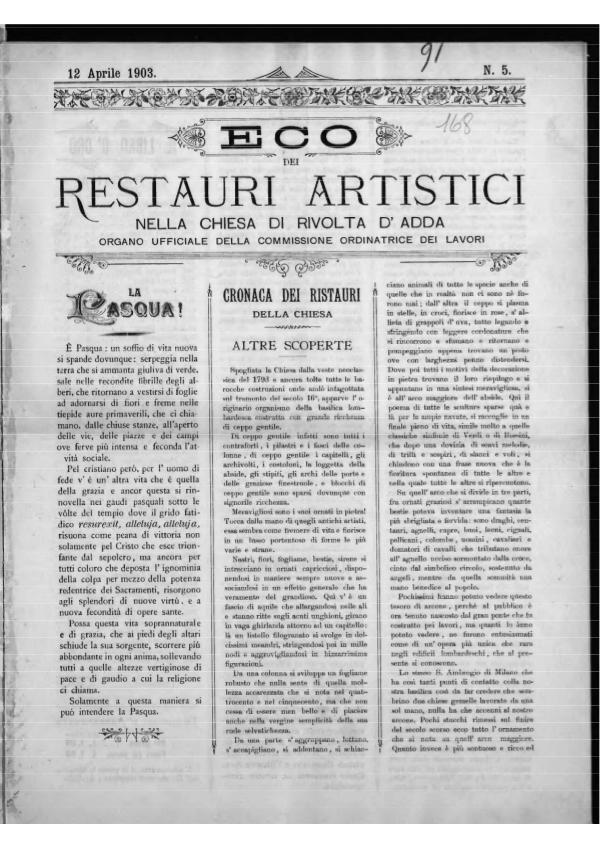 L'Eco dei restauri Aprile 1903