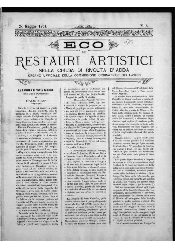 L'Eco dei restauri Maggio 1903