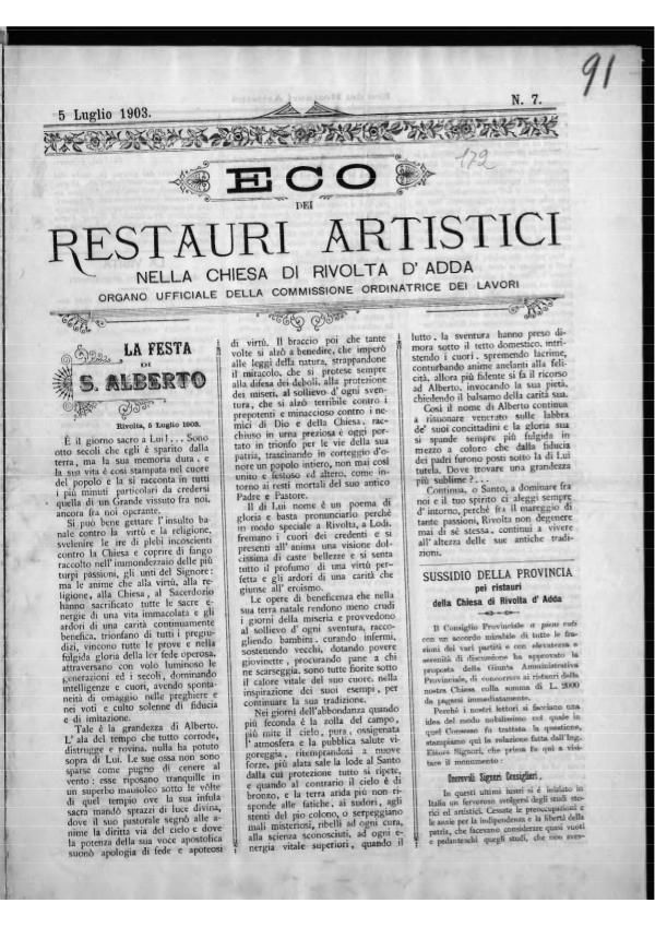 L'Eco dei restauri Luglio 1903