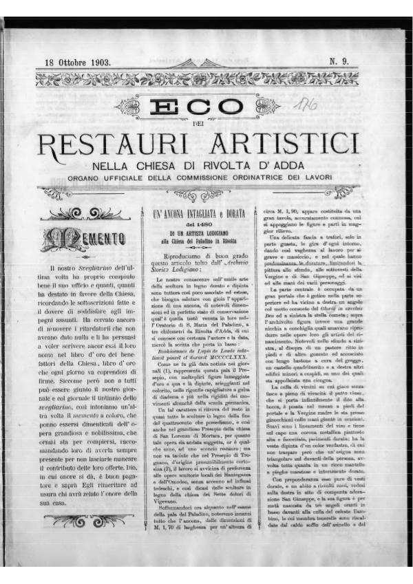 L'Eco dei restauri 18 ottobre 1903