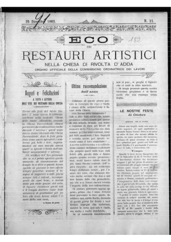 L'Eco dei restauri Dicembre 1903