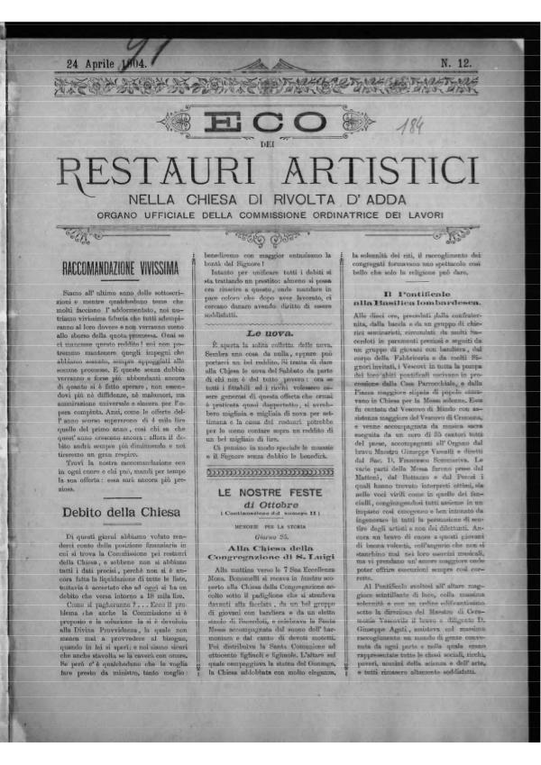 L'Eco dei restauri Aprile 1904
