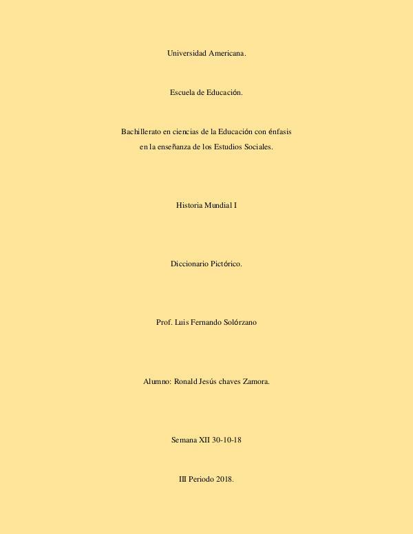 Diccionario Pictórico Diccionario Pictórico - Historia Mundial I