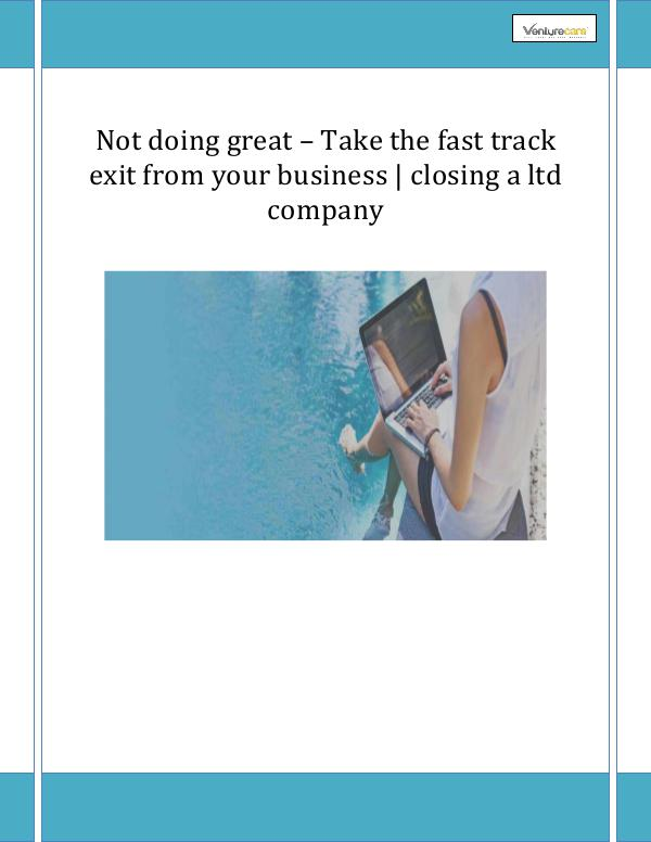 Business Plan - Venture Care 4.Not doing great – Take the fast track exit from