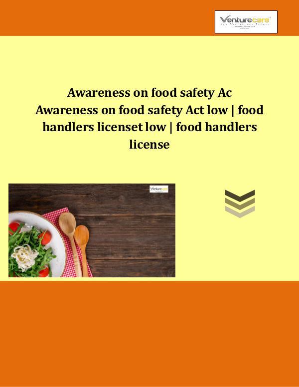 Food handlers license-Venture care