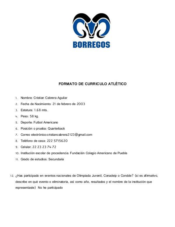 Currículo Cristian CURRICULO CRISTIAN CABRERA AGUILAR FUTBOL AMERICAN
