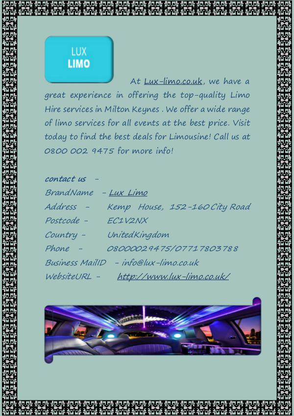 Milton Keynes Limo Hire Services at Lux-limo.co.uk Milton Keynes Limo Hire Services at Lux-limo.co.uk