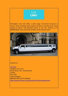 Birmingham Limo Hire at Best Price: Lux-limo.co.uk
