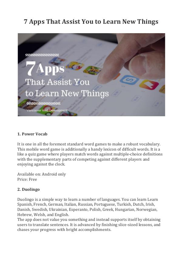 7 Apps That Assist You to Learn New Things -  Vanc