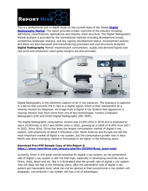 Digital Radiography Market Size by Top Key Companies 2018 29 june 2018