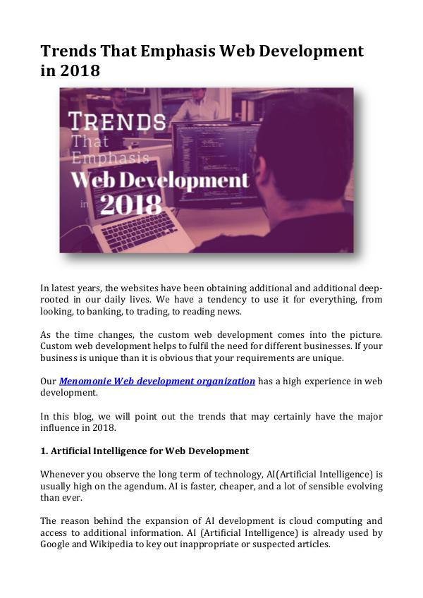 Trends That Emphasis Web Development in 2018 Trends That Emphasis Web Development in 2018