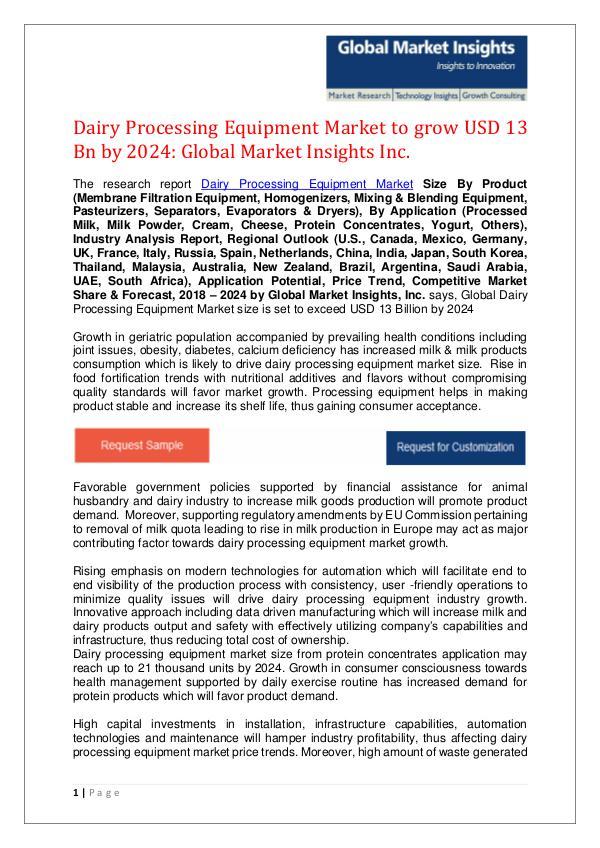 Food, Nutrition & Animal Feed Dairy Processing Equipment market - PDF