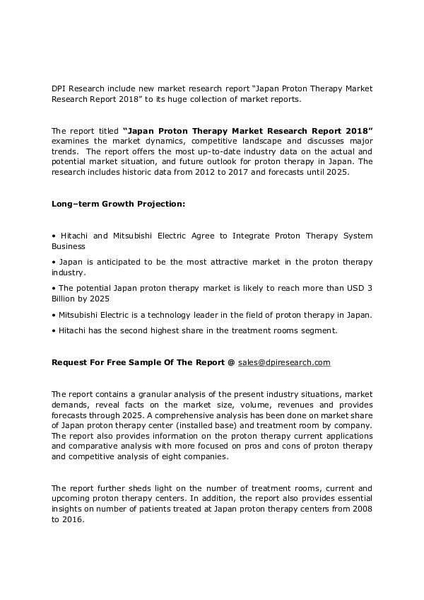 Japan Proton Therapy Market -Latest Report