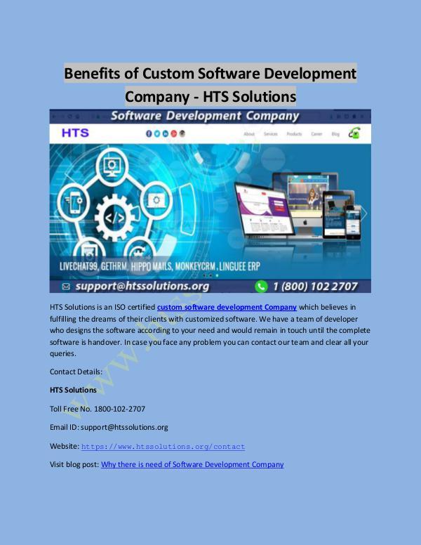 Benefits of Custom Software Development Company - HTS Solutions Benefits of Custom Software Development Company