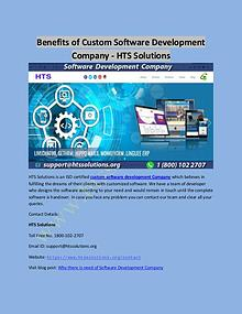 Benefits of Custom Software Development Company - HTS Solutions