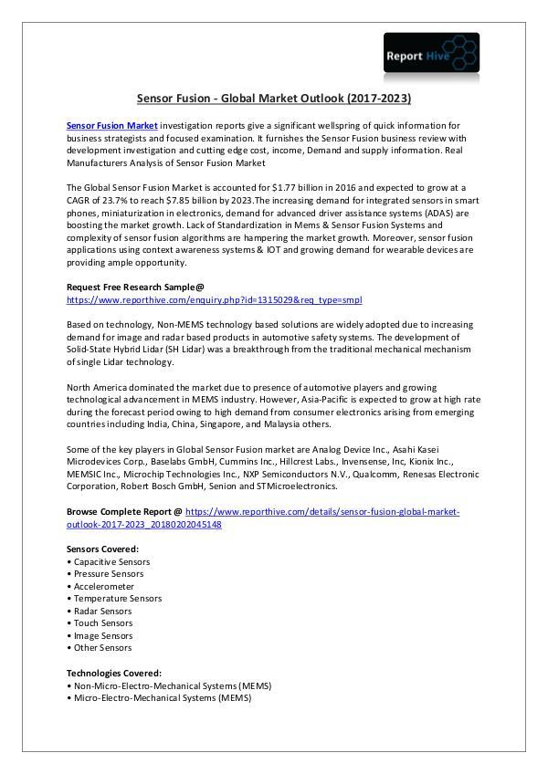 Sensor Fusion Market Analysis: Recent Trends March 2018