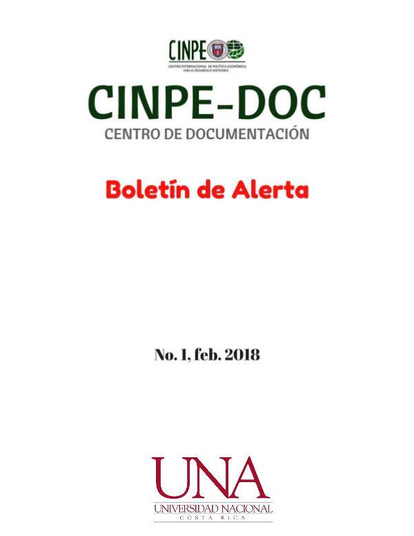 Boletín de alerta CINPE-DOC Boletín de alerta CINPE-DOC no. 1-2018