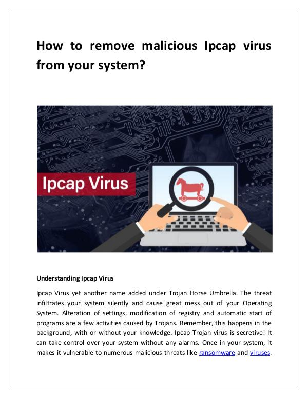 How to remove malicious Ipcap virus from your system? How to remove malicious Ipcap virus from your syst