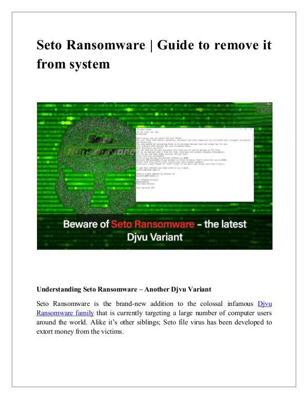 Guide to remove Seto ransomware Guide to remove Seto Ransomware