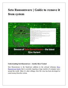 Guide to remove Seto ransomware