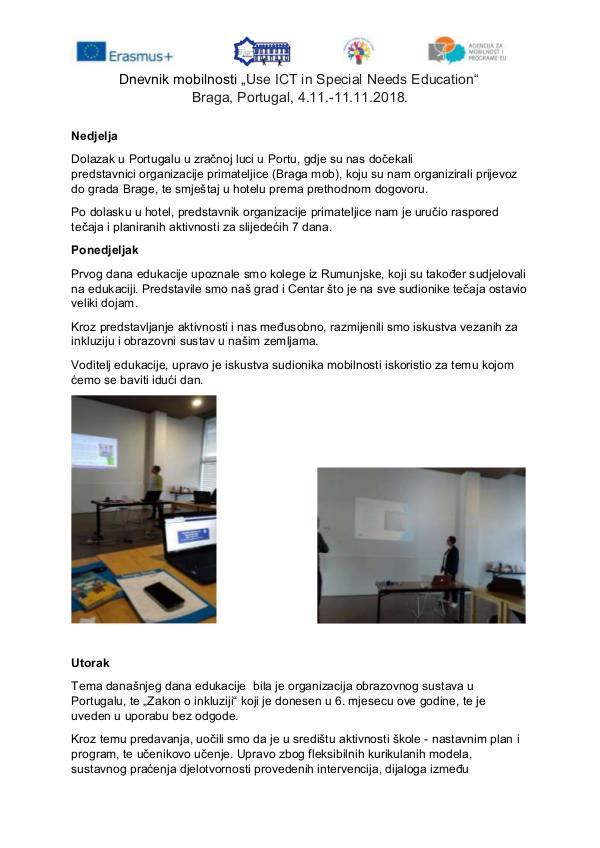 "Dnevnik mobilnosti ""Use ICT in Special Needs Education"""