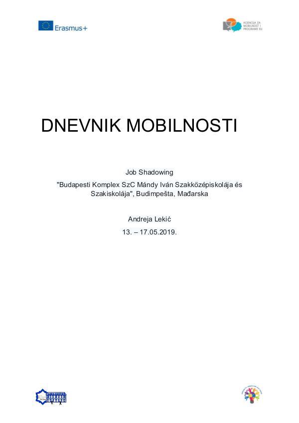 Dnevnik mobilnosti Job Shadowing