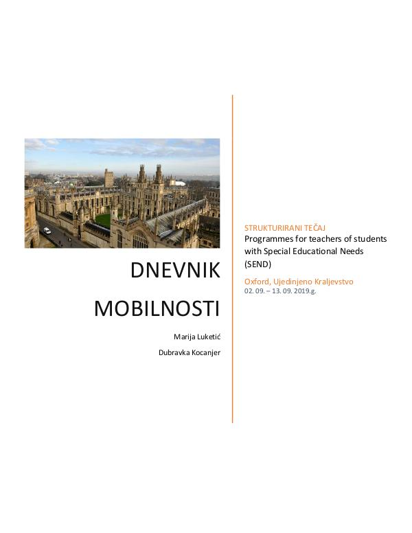 Dnevnik mobilnosti Programmes for teachers of students with Special E