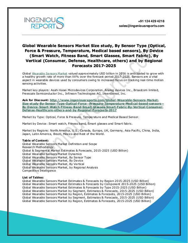 Wearable Sensors Global Market Trends, Share and Growth Analysis Global Wearable Sensors Market