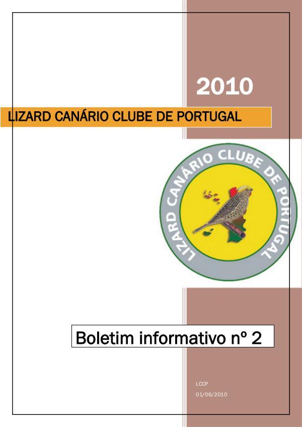 Boletim informativo do Lizard Canário Clube Português LCCP_ boletim informativo 2