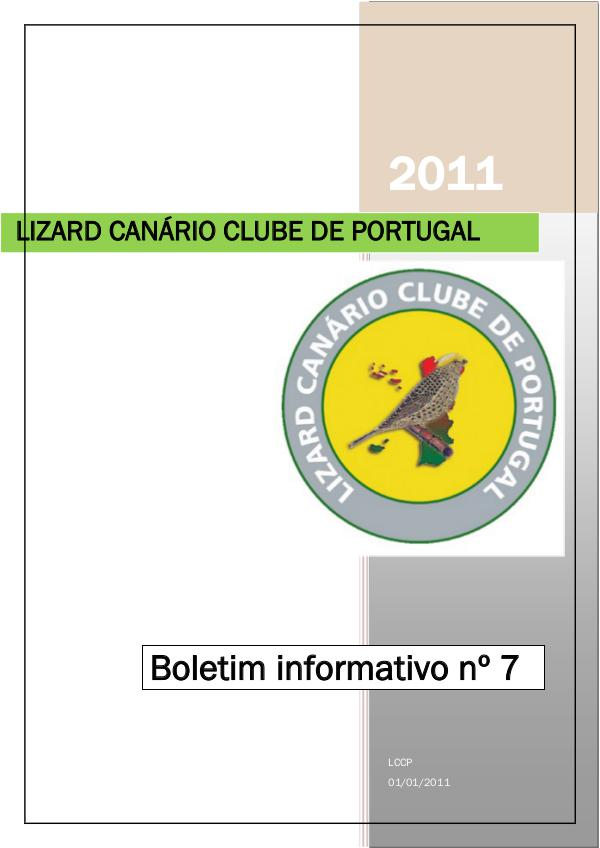 Boletim informativo do Lizard Canário Clube Português LCCP_ boletim informativo 7