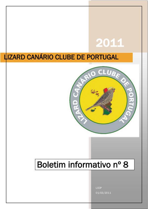 Boletim informativo do Lizard Canário Clube Português LCCP_ boletim informativo 8