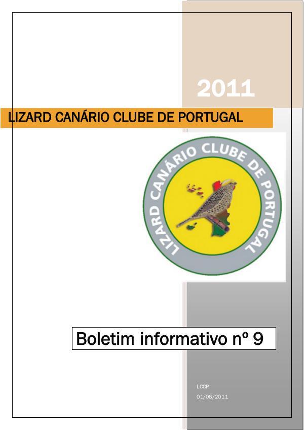Boletim informativo do Lizard Canário Clube Português LCCP_ boletim informativo 9