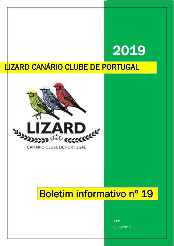 Boletim informativo do Lizard Canário Clube Português LCCP_ boletim informativo 19