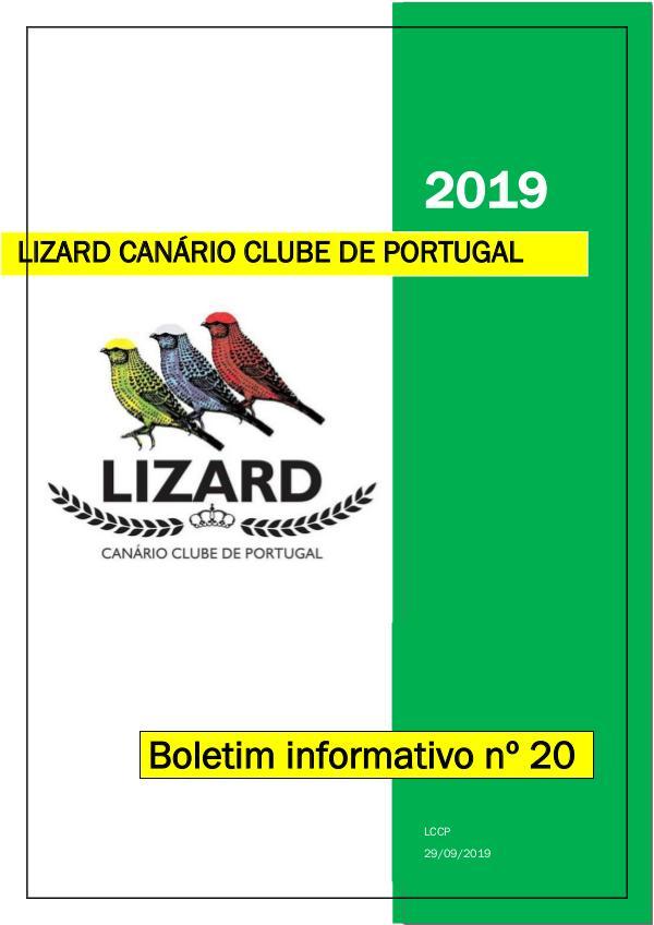 Boletim informativo do Lizard Canário Clube Português LCCP_ boletim informativo 20