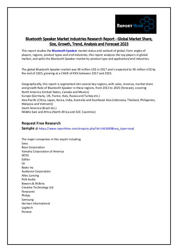Bluetooth Speaker Market Industries Research Repor