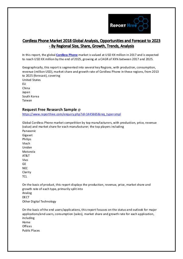 Report Hive Cordless Phone Market 2018 Global Analysis