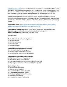 Underfloor Heating Market - Industry Outlook & Market Segmentation