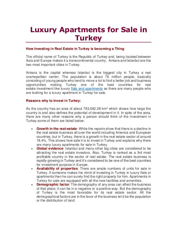 Luxury Apartments for Sale in Turkey