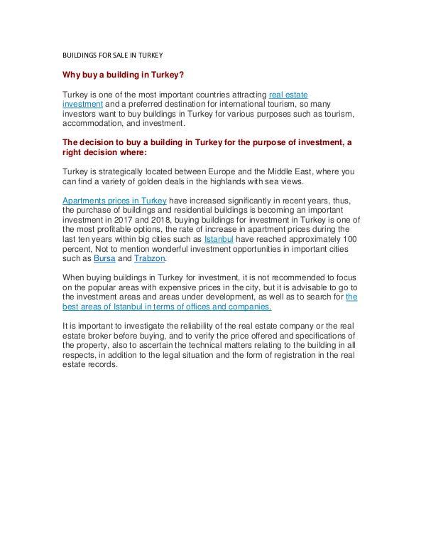 BUILDINGS FOR SALE IN TURKEY