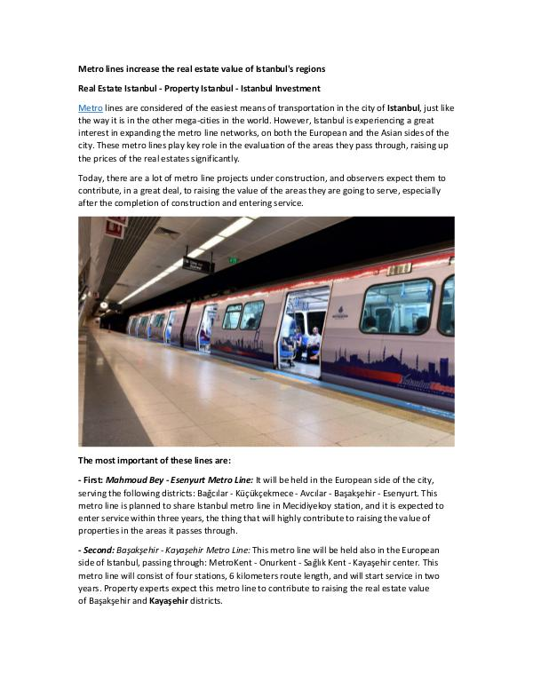 Metro lines increase the real estate value of Ista